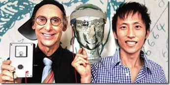 Allan Snyder (left) and student Richard Chi (right) display their 'thinking cap' (centre) on a glass head at the University of Sydney in Australia on February 10, 2011