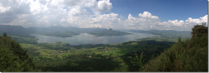 View from the top. Tung in the middle of Pawna Lake